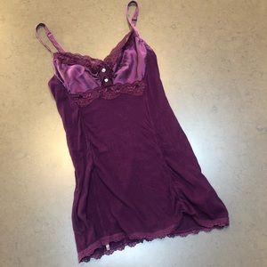 Guess Top with Satin Insets and Lace Trim